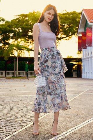 Rorina Paisley Printed Ruffles Midi Skirt