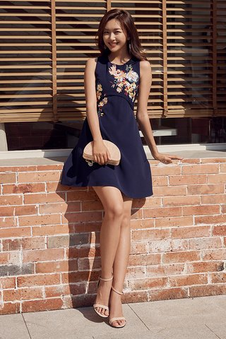 Celena Embroidered Dress in Navy