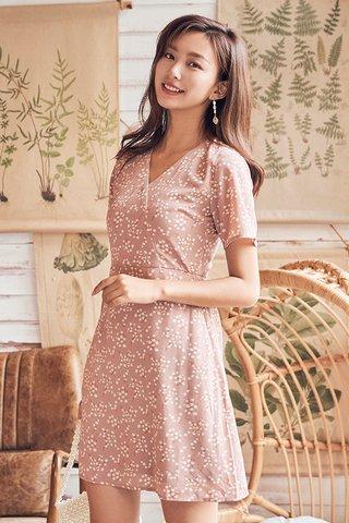 Sheya Sleeved Dress in Dusty Pink