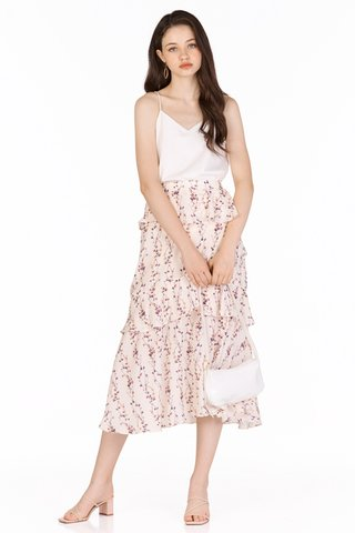 Sadra Ruffled Midi Skirt in Cream