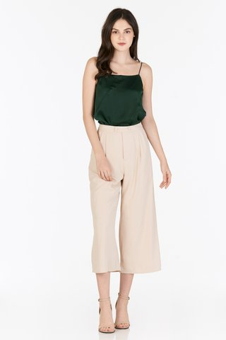 Calia Satin Two Way Top in Forest Green
