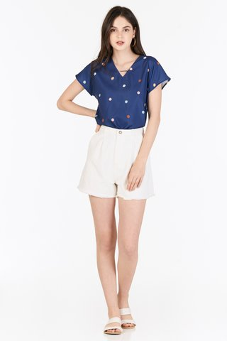 Arabella Polka Dotted Top in Navy