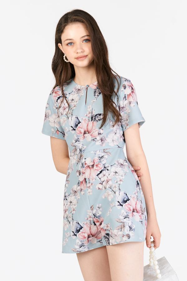 Lilou Printed Romper in Powder Blue