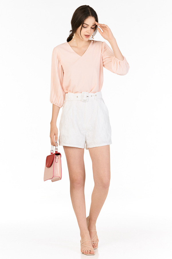 Arlette Pleated Sleeved Top in Light Pink