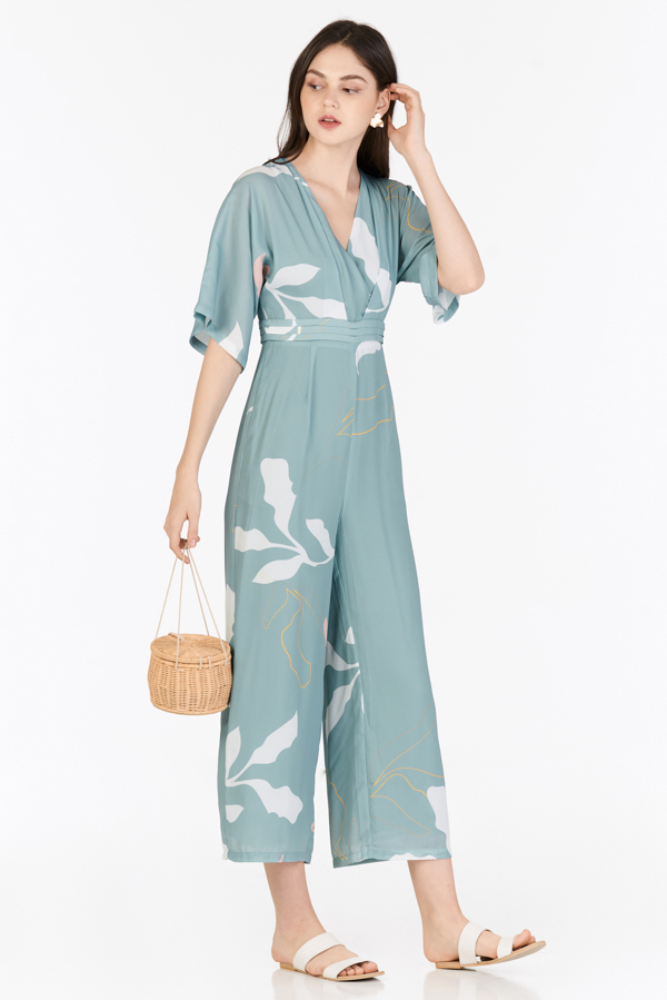 Olinda Foliage Printed Jumpsuit in Seafoam