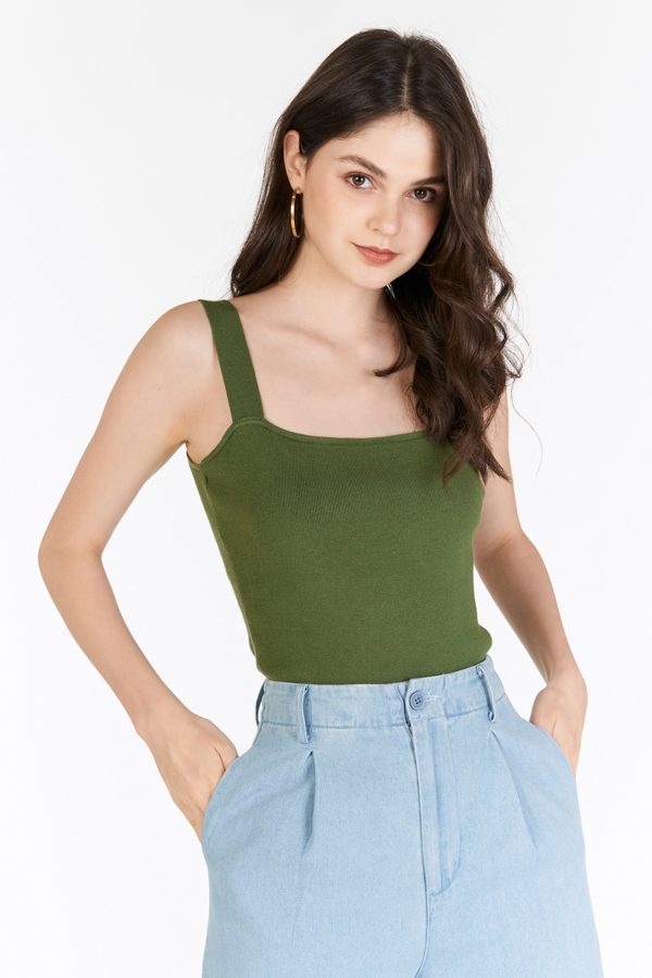 *Restock* Brea Knitted Top in Aspen Green
