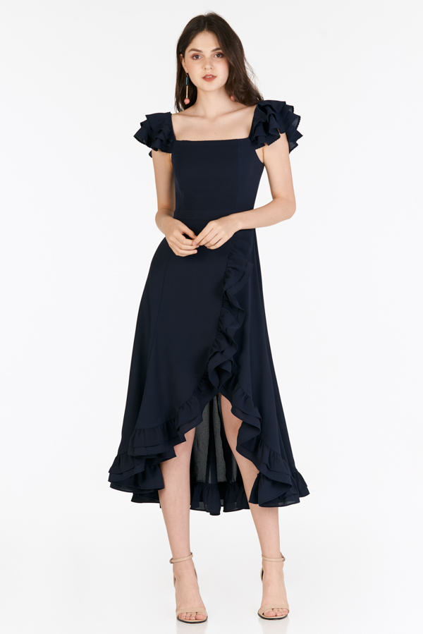 Maisha Ruffles Midi Dress in Navy