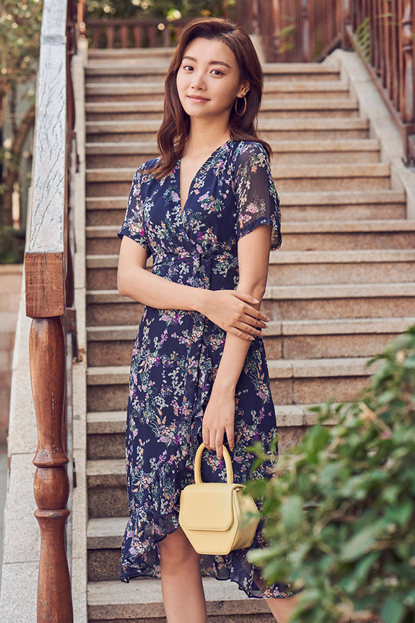 Janelle Midi Dress in Navy