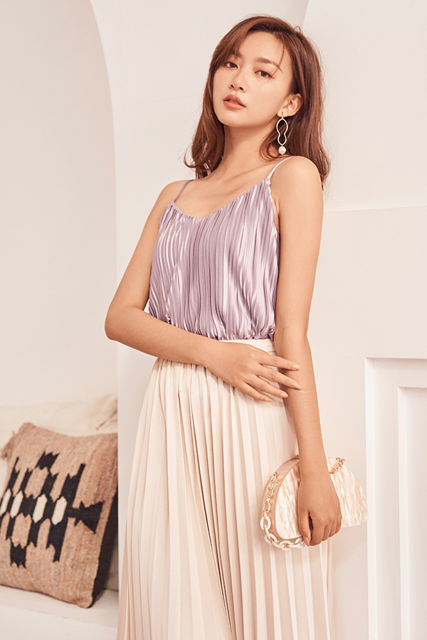 *Restock* Skyla Pleated Two Way Top in Lavender