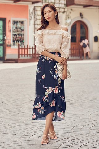 Senna Ruffled Midi Skirt in Navy