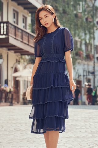 Bourey Crochet Hem Midi Dress in Navy