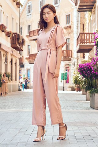 Raiden Wrap Jumpsuit in Pink