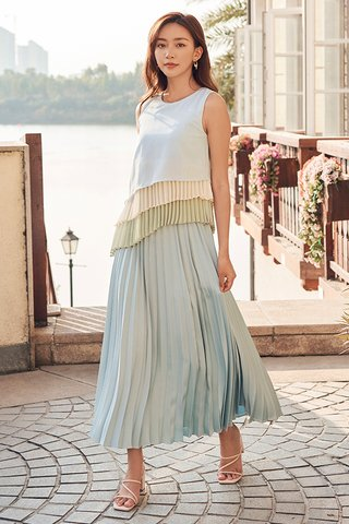 Lenna Pleats Top in Light Blue