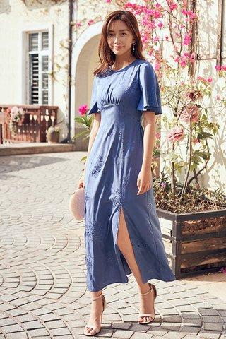 Giana Embossed Dress in Violet Blue