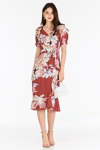 *Restock* Jeanette Midi Dress in Wine