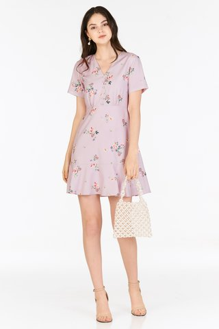 Keicia Sleeved Dress in Lilac