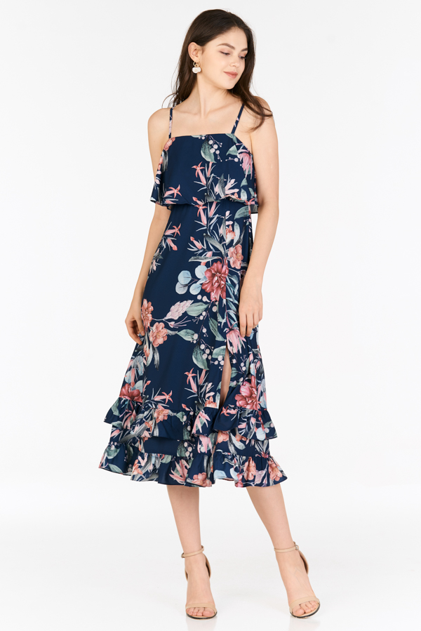 Eunise Midi Dress in Navy