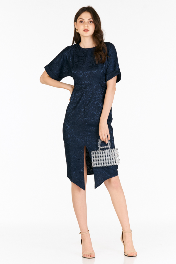 Nella Embossed Dress in Navy