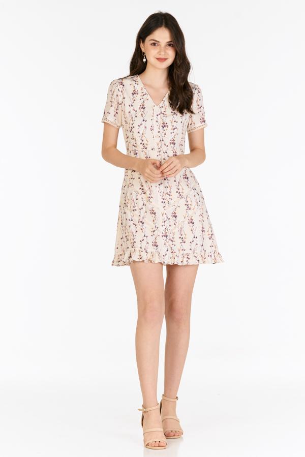 Sadra Buttoned Dress in Cream