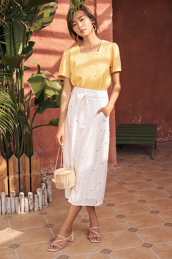 *Backorder* Yanet Midi Skirt in White