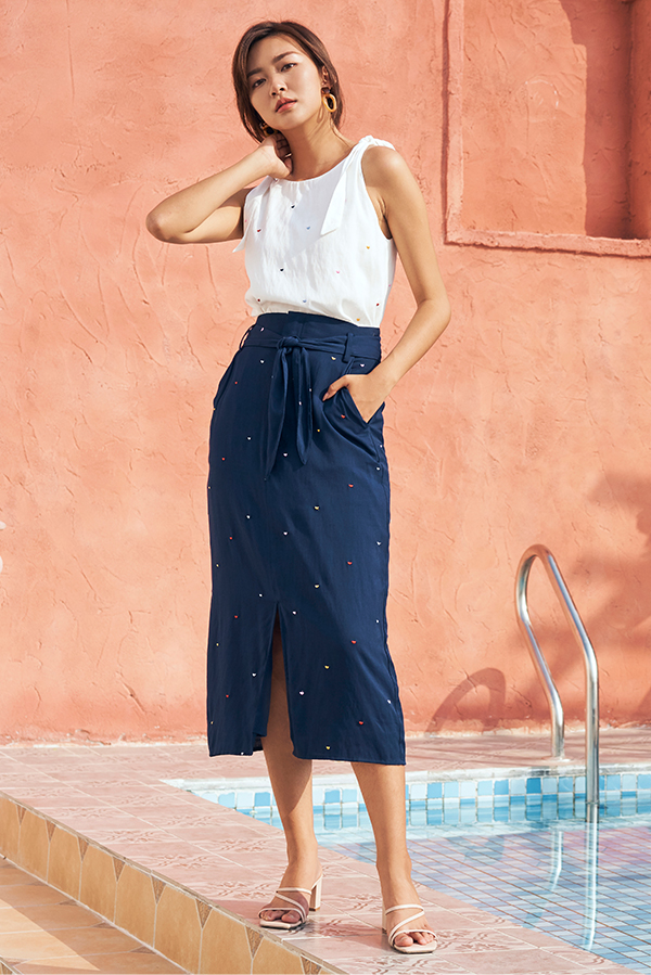 *Restock* Yanet Midi Skirt in Navy
