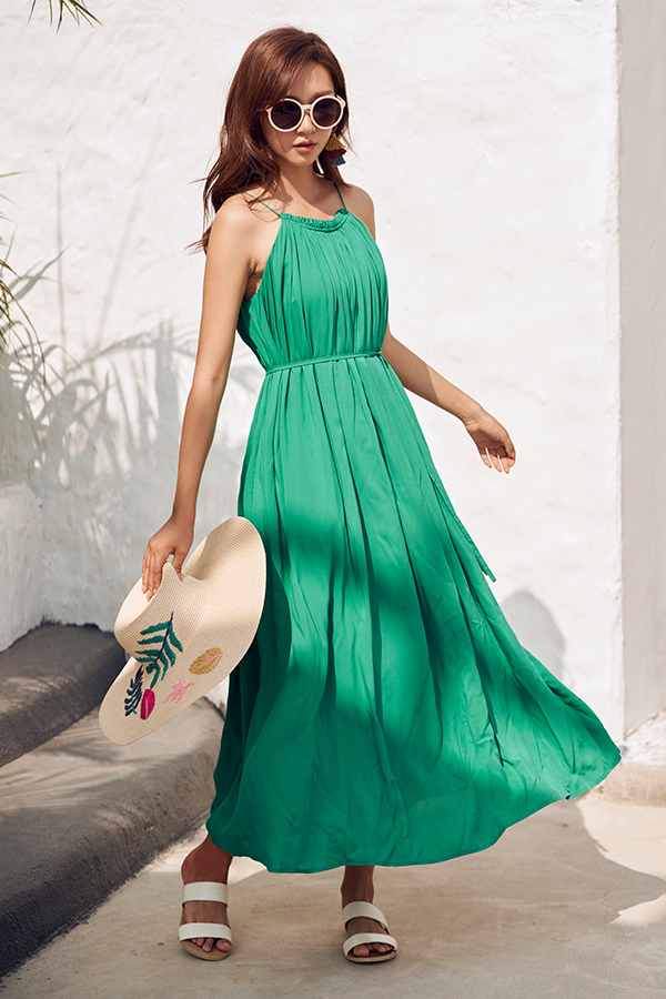 *Backorder* Graciela Pleated Maxi Dress in Emerald Green