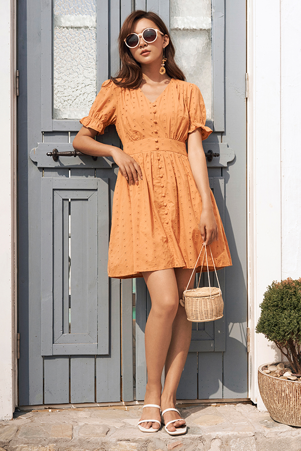 Carmela Eyelet Dress in Sunrise Orange