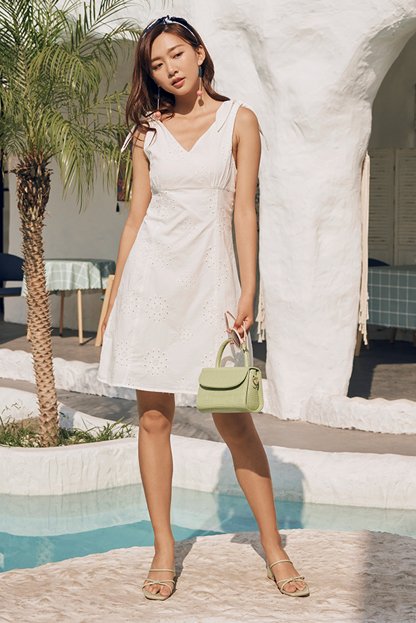 *Backorder* Capella Eyelet Dress in White