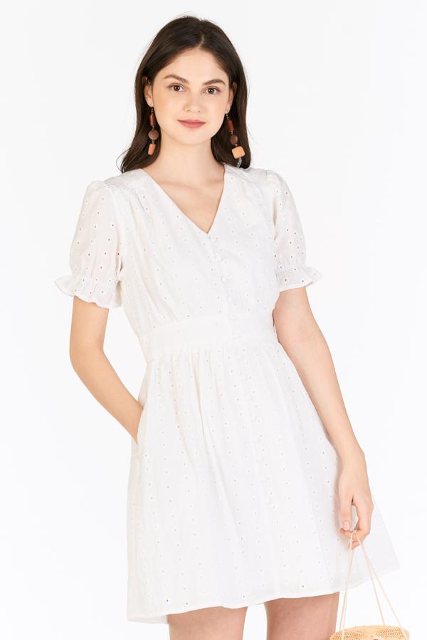 Carmela Eyelet Dress in White