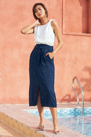 *Backorder* Yanet Midi Skirt in Navy