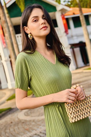 *Backorder* Eleanor Pleated Dress in Pistachio