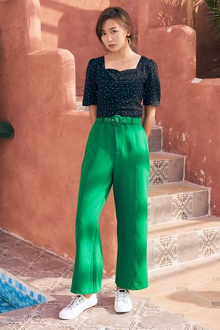 Adette Belted Pants in Emerald Green