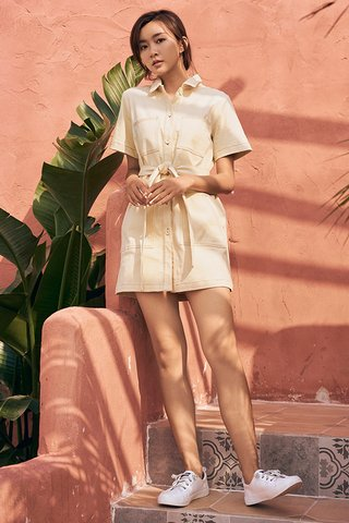 Aleja Denim Dress in Cream