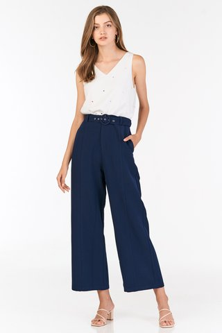 Adette Belted Pants in Navy