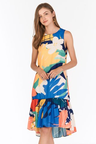 Akemmi Dropwaist Midi Dress in Vivid