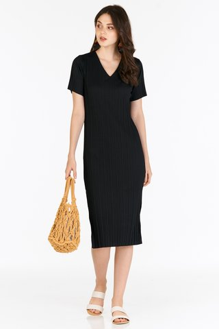 *Backorder* Eleanor Pleated Dress in Black