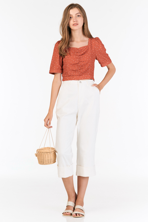 Keily Sleeved Top in Burnt Orange