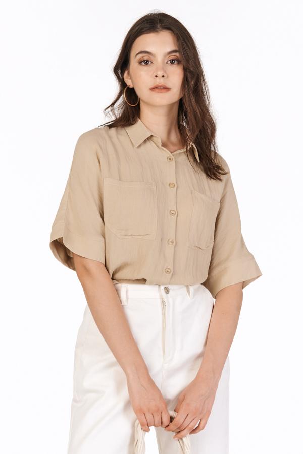 Edrea Button Shirt in Khaki