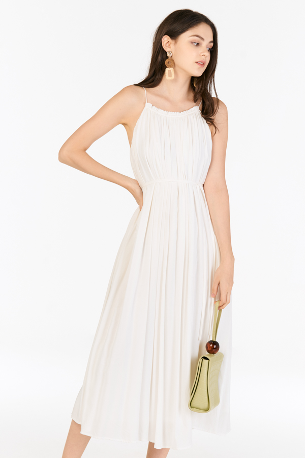 Graciela Pleated Maxi Dress in White