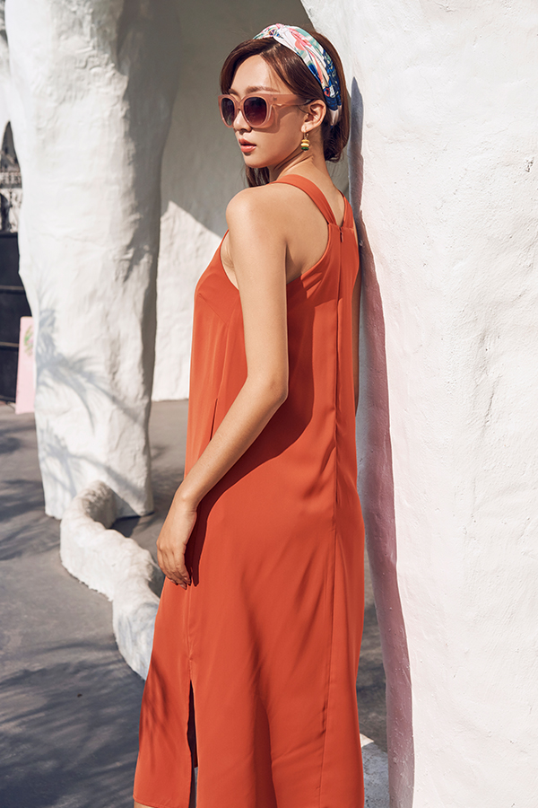 Chrysta Midi Dress in Tangerine