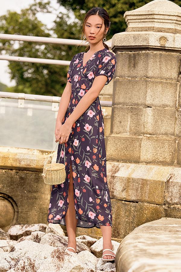Lauryn Midi Dress in Plum