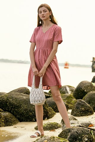 Jensa Eyelet Dress in Pink