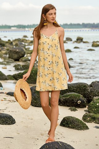 Serrica Button Dress in Dandelion