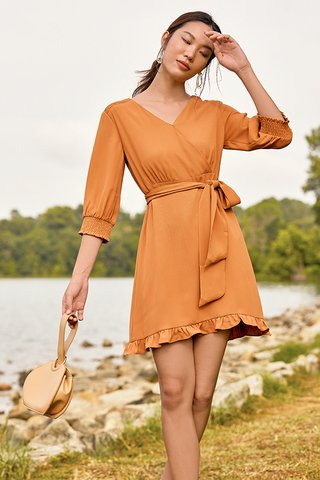 Harlee Wrap Ruffled Dress in Golden Sunset