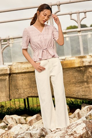 Mallory Eyelet Top in Lilac