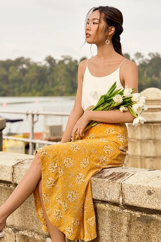 Cassa Ruffled Midi Skirt in Dandelion