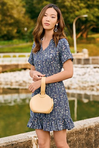 Delisa Sleeved Dress in Navy