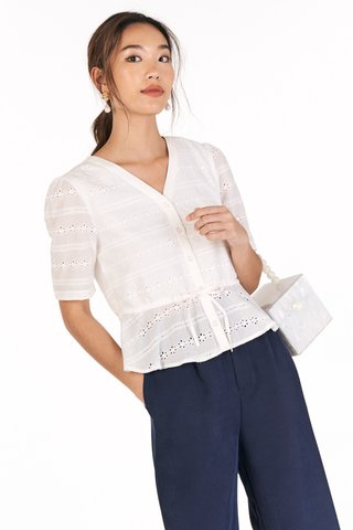 Mallory Eyelet Top in White