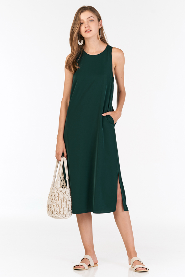 Chrysta Midi Dress in Forest