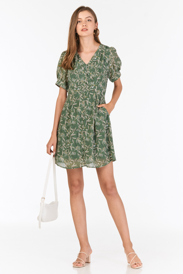 Amalia Sleeved Dress in Sage